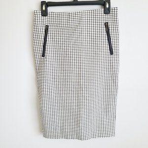 Rachel Zoe grid pattern pencil skirt